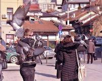 萨拉热窝,欧洲09 02 2018年,站立在城市广场的年轻夫妇拿着鸽子 库存图片