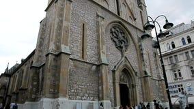 萨拉热窝 在大教堂里观看向上方向 股票视频