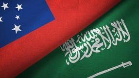 萨摩亚和沙特阿拉伯旗子纺织品布料 向量例证