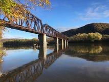 萨斯奎哈那河Coxton铁路桥梁 免版税库存图片