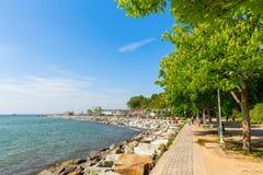 萨斯尼茨,鲁根岛,德国海滨散步  库存图片