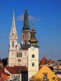 萨格勒布大教堂和圣玛丽的教会 免版税库存图片