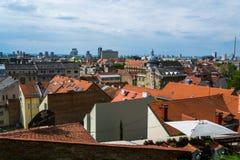 萨格勒布市屋顶  免版税库存图片
