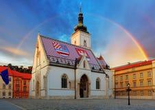 萨格勒布教会-圣马克 库存照片