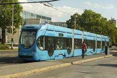 萨格勒布,克罗地亚电车网络 免版税库存照片