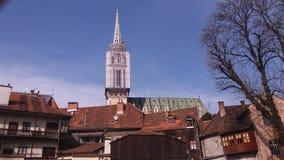 萨格勒布,克罗地亚 市中心,在教会的看法 库存照片