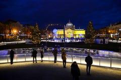 萨格勒布,克罗地亚- 12月26  2017年:在12月期间,圣诞节装饰了萨格勒布镇  图库摄影