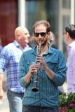萨格勒布/街道音乐家/单簧管球员 免版税图库摄影
