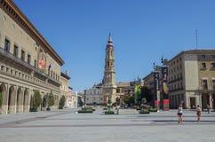 萨瓦格萨,西班牙- 2010年5月16日:La Seo del萨尔瓦多大教堂 免版税库存图片