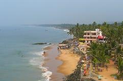 萨穆德拉海滩的看法在科瓦兰 免版税库存图片