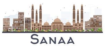 萨纳也门与在白色隔绝的颜色大厦的市地平线 向量例证