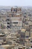 萨纳市传统建筑的外部在萨纳,也门 图库摄影