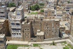 萨纳市的历史大厦的看法在萨纳,也门 库存照片