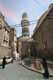 萨纳街道场面,也门 免版税库存图片