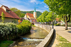 萨莫博尔视图绿色镇  免版税库存照片
