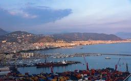 萨莱诺鸟瞰图在意大利 库存图片