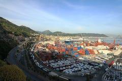 萨莱诺,阿马尔菲海岸,意大利港  库存图片