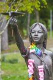 萨达库佐佐木古铜色雕象在西雅图-西雅图/华盛顿- 2017年4月11日 免版税库存图片