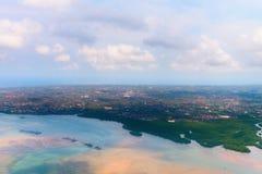 登巴萨鸟瞰图巴厘岛的 库存照片