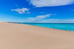 萨贡托海滩在巴伦西亚在晴天在西班牙 库存照片