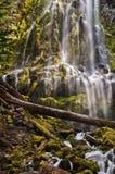 落下在生苔岩石的代理人瀑布在日落 免版税库存照片