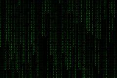落从上面的浅绿色的数字式文本字词背景矩阵 图库摄影