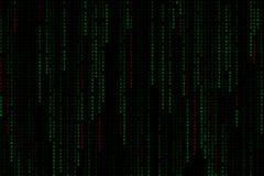 落从与字词病毒、ransomware、间谍软件、特洛伊人和蠕虫的上面的浅绿色的数字式文本背景矩阵 免版税库存照片