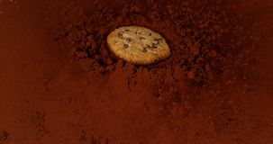 落入黑火药巧克力的曲奇饼, 股票视频