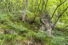 落后在道路的标记对Grmada和Smarna gora,一次普遍的远足 图库摄影