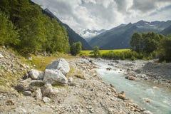 落后的阿尔卑斯奥地利美好的绿色组横向lechtal草甸山muttekopf 免版税库存照片