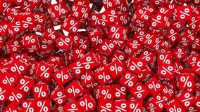 落和填装背景的百分比标志红色立方体 皇族释放例证