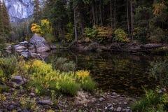 落在一条安静的小河,优胜美地国家公园,加利福尼亚,美国 免版税库存图片