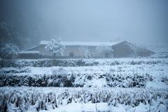 落在原木小屋的冬天雪在森林里 免版税库存图片