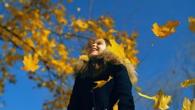 落在小女孩的黄色叶子 影视素材