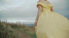 落在最大补丁山阿巴拉契亚山脉、田纳西&北卡罗来纳,少妇画象黄色礼服的 股票录像