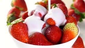 落在草莓的慢动作的尚蒂伊 股票视频