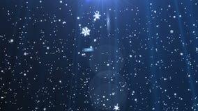 落在蓝色背景的雪花 影视素材