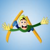 落在跳高滑雪的人 免版税库存照片