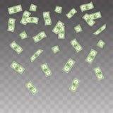落在透明背景的例证纸币 飞行钞票金钱集合 免版税库存照片