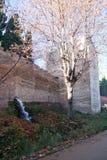 落在阿尔罕布拉宫墙壁外面的水 免版税库存图片
