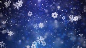 落在黑暗地深蓝无缝的圈动画的降雪 向量例证