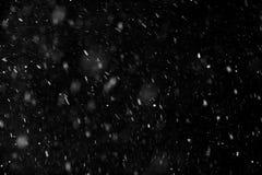 落在黑背景的雪 免版税库存图片