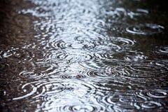 落在水中的雨珠 免版税库存图片