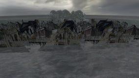 落在水的废墟地标和飞机与飞溅 向量例证