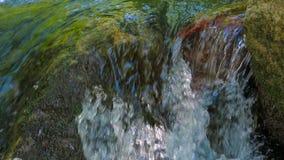 落小河的水岩石 特写镜头射击与 股票录像