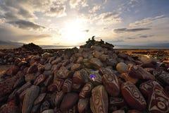 落日的西藏 图库摄影