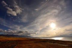落日的西藏 免版税库存照片
