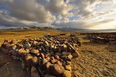 落日的西藏 库存图片
