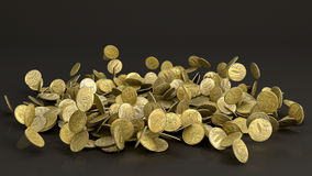 落的俄罗斯卢布硬币 免版税库存照片