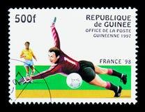 落的守门员,世界杯足球赛1998年-法国serie,大约19 免版税库存图片